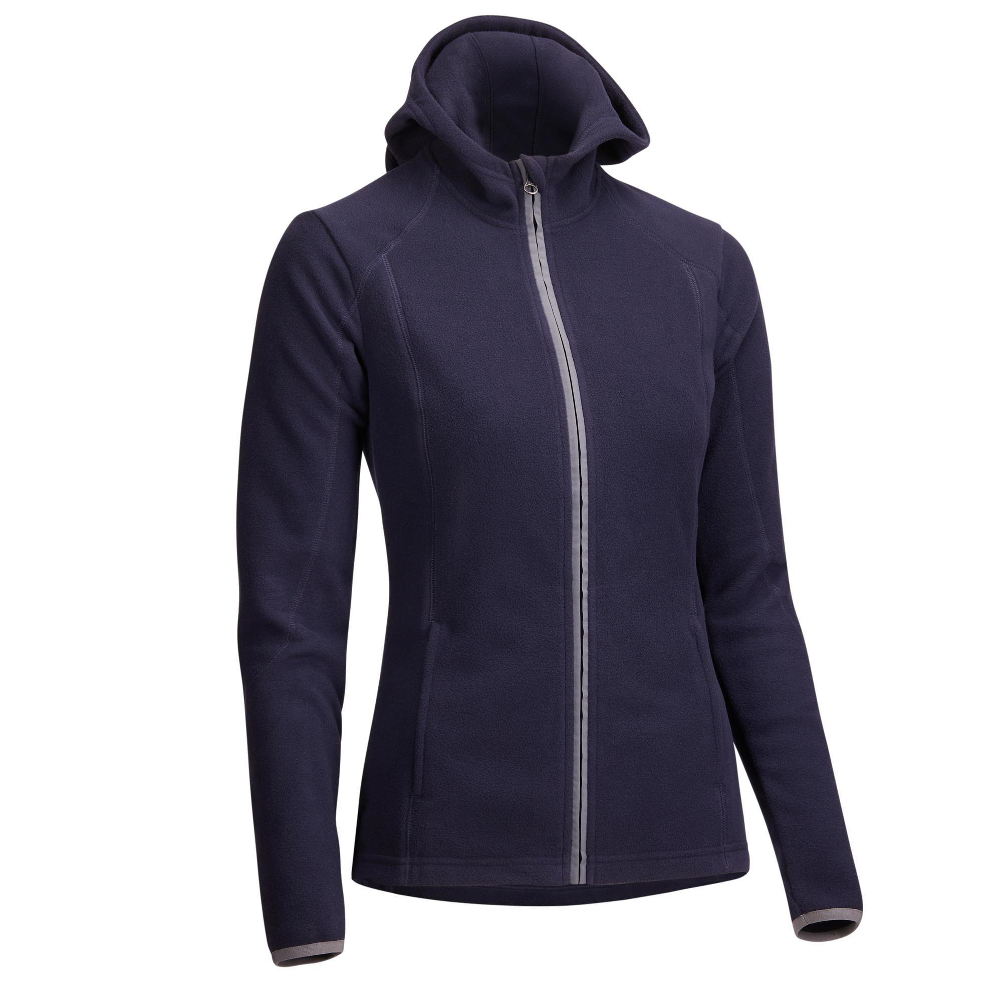 Fouganza 2-in-1 fleece dameshoodie ruitersport marineblauw