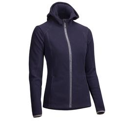2-in-1 fleece dameshoodie ruitersport marineblauw
