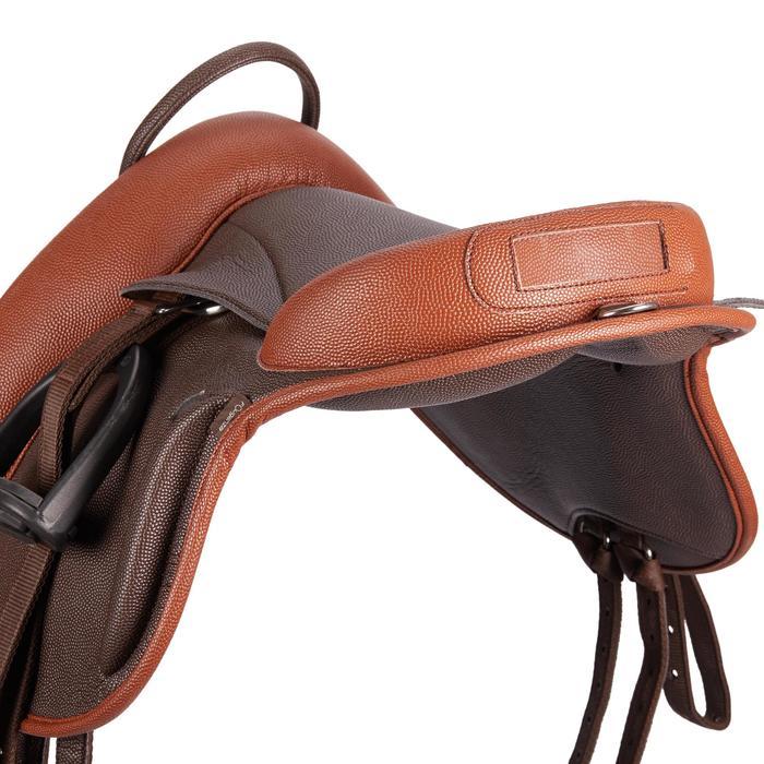 Compleet synthetisch kinderzadel ruitersport pony 100 bruin