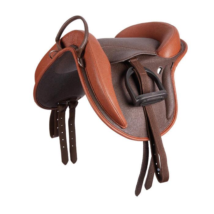 Bardette synthétique équipée équitation poney 100 marron