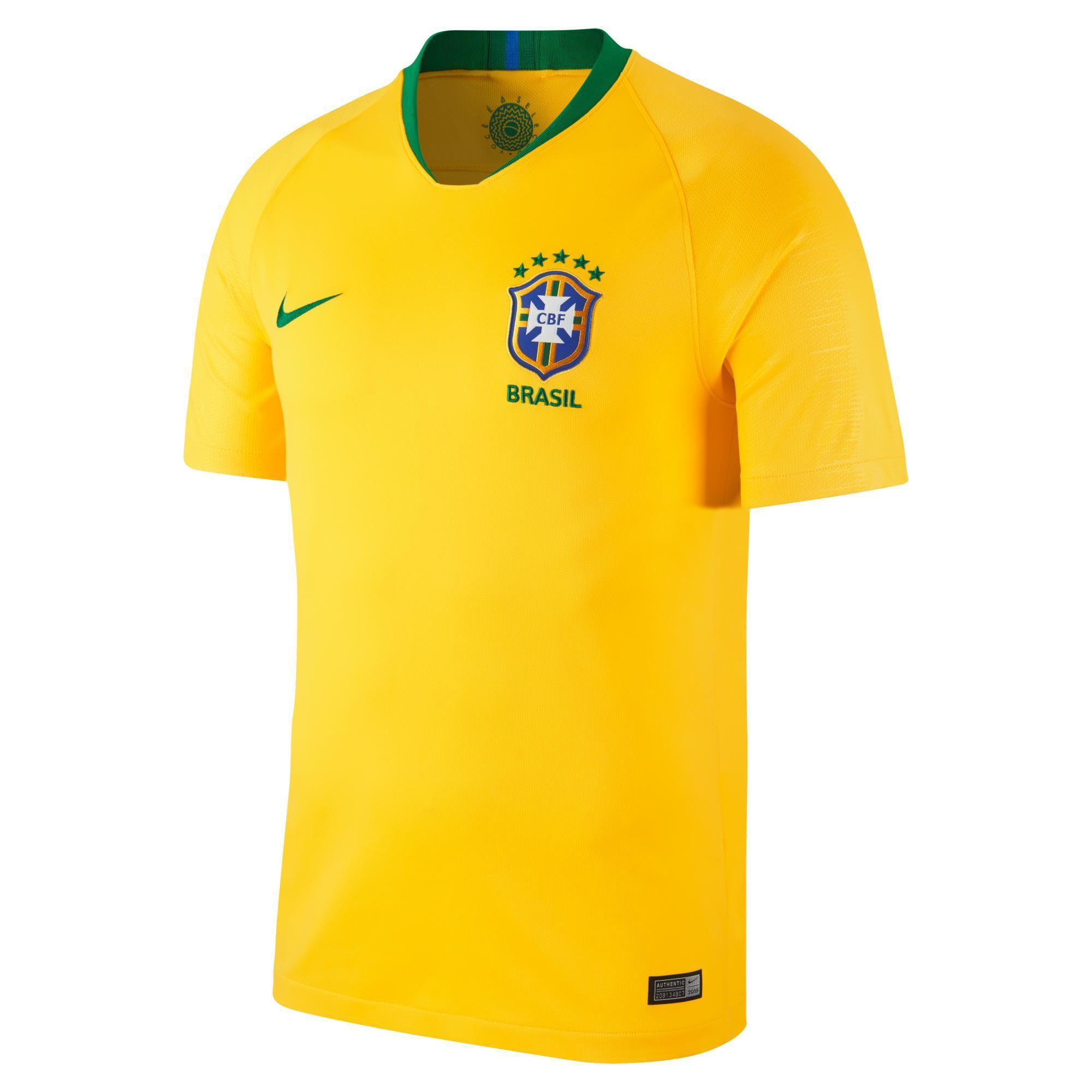 Nike Voetbalshirt Brazilië thuisshirt WK 2018 voor volwassenen geel
