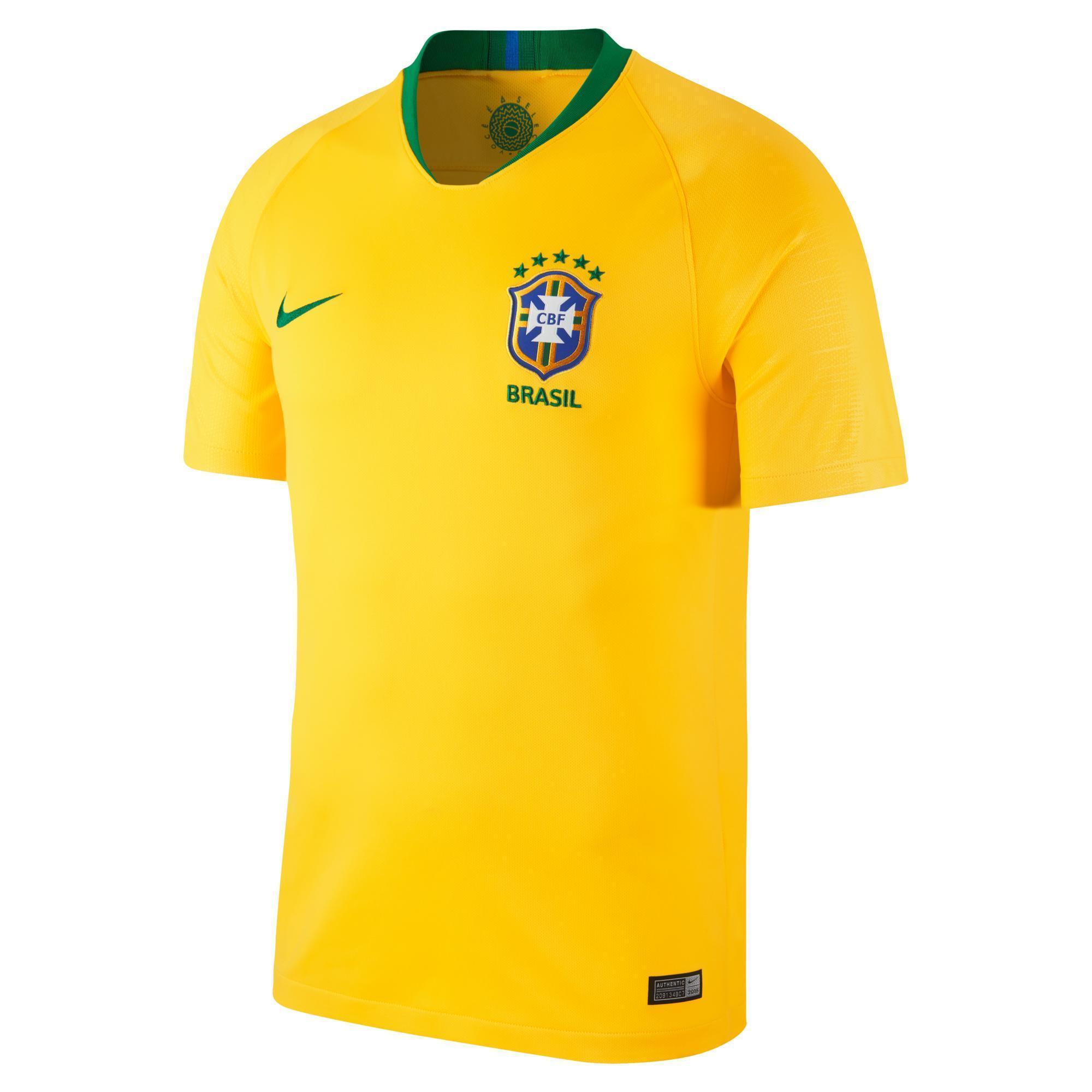 Nike Voetbalshirt Brazilië thuisshirt WK 2018 voor kinderen geel