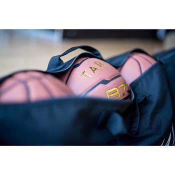 Draagzak voor 5 basketballen in de maten 5 tot 7. Stevig.