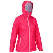 Rožnata ženska vodoodporna jadralna jakna 100