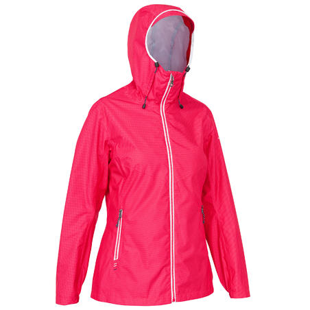 Sailing 100 Women's Waterproof Sailing Jacket - All Over Pink