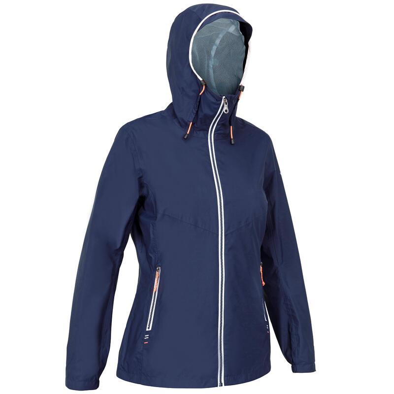 Zeiljas - regenjas voor dames Sailing 100 marineblauw