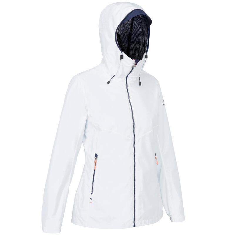 Veste imperméable de voile - veste de pluie coupe vent SAILING 100 femme Blanc