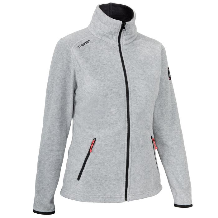 Waterafstotende fleece voor wedstrijdzeilen dames Race 100 gemêleerd grijs.