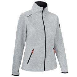 Women's Sailing Water Repellent Fleece RACE 100 - Mottled Grey.