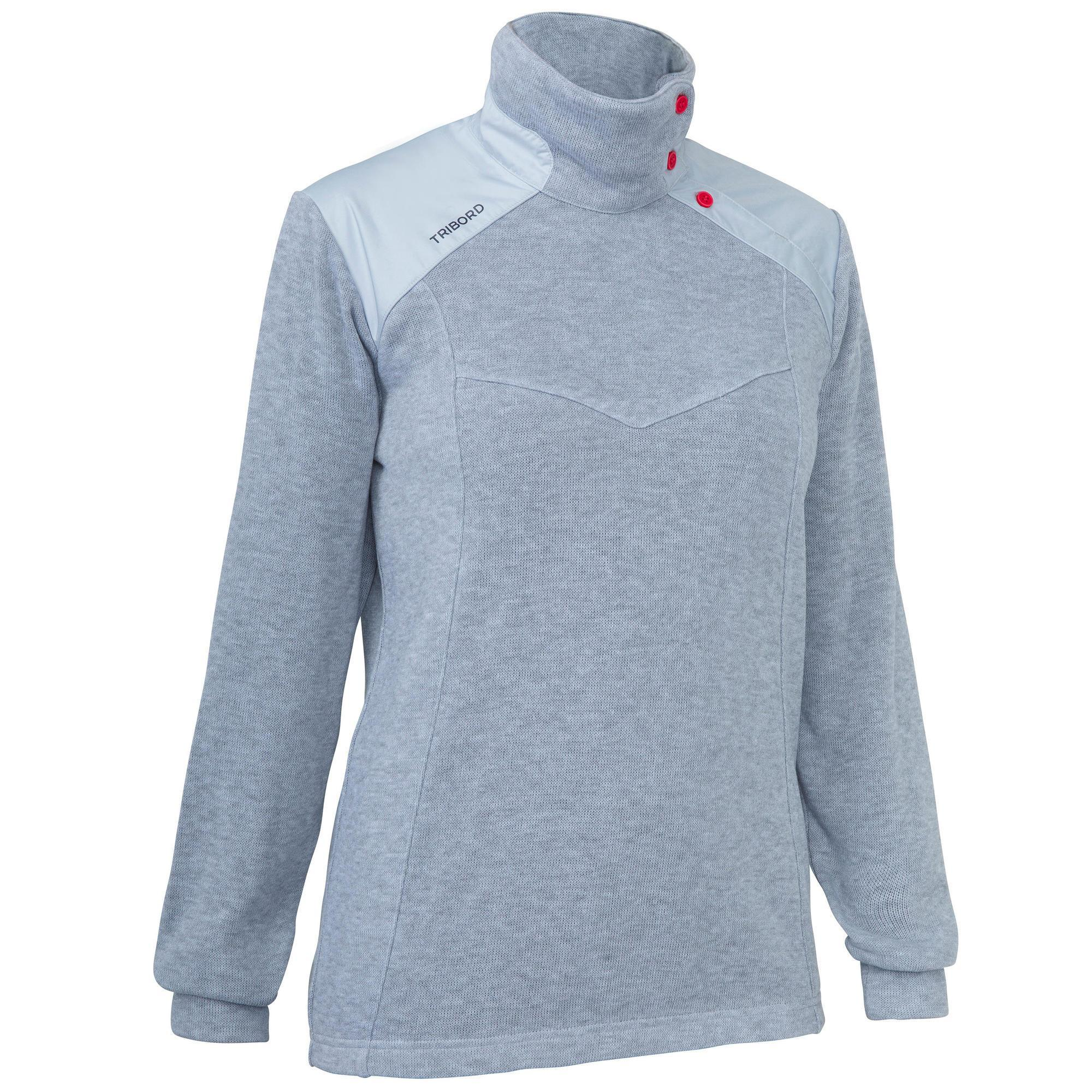 Pull marin chaud femme sailing 100 gris tribord