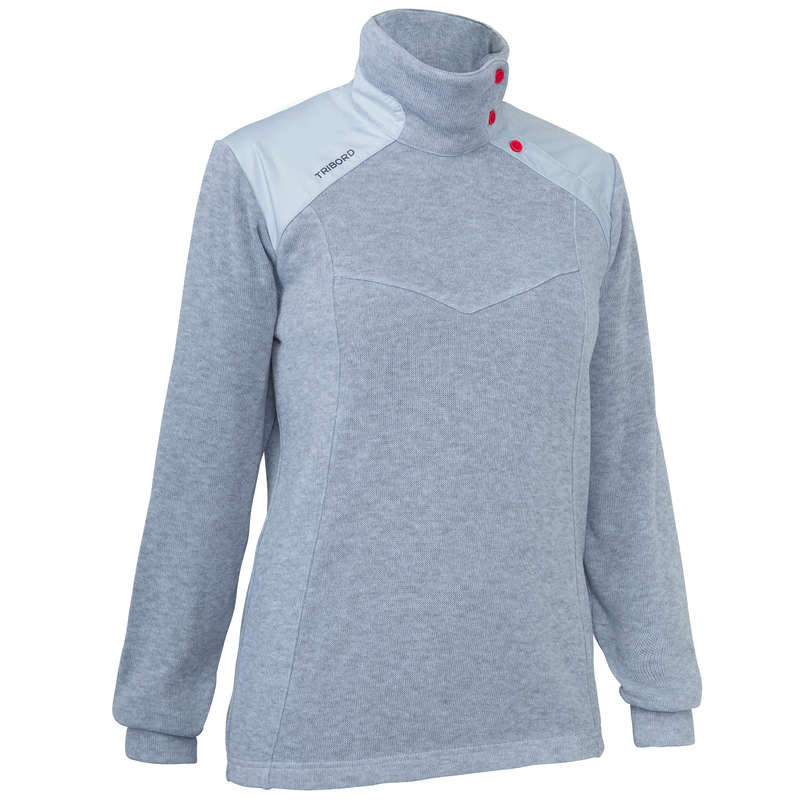 CRUISING COLD WEATHER WOMAN CLOTHES Sailing - W Sailing Pullover 100 - Grey TRIBORD - Sailing Clothing