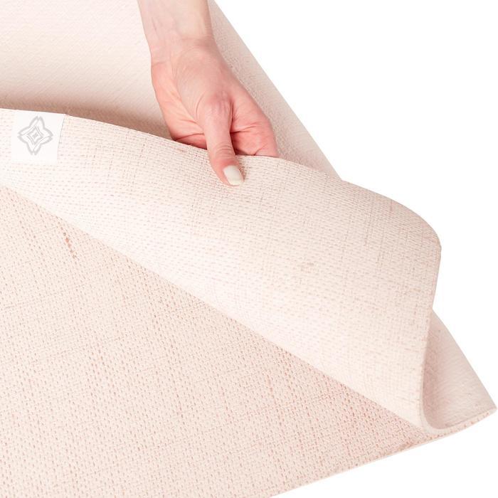 Yogamat voor dynamische yoga natuurrubber / jute 4 mm beige