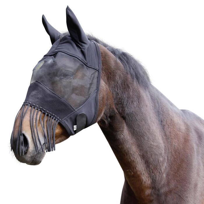 Masque anti-mouche  équitation cheval et poney noir - 1418091