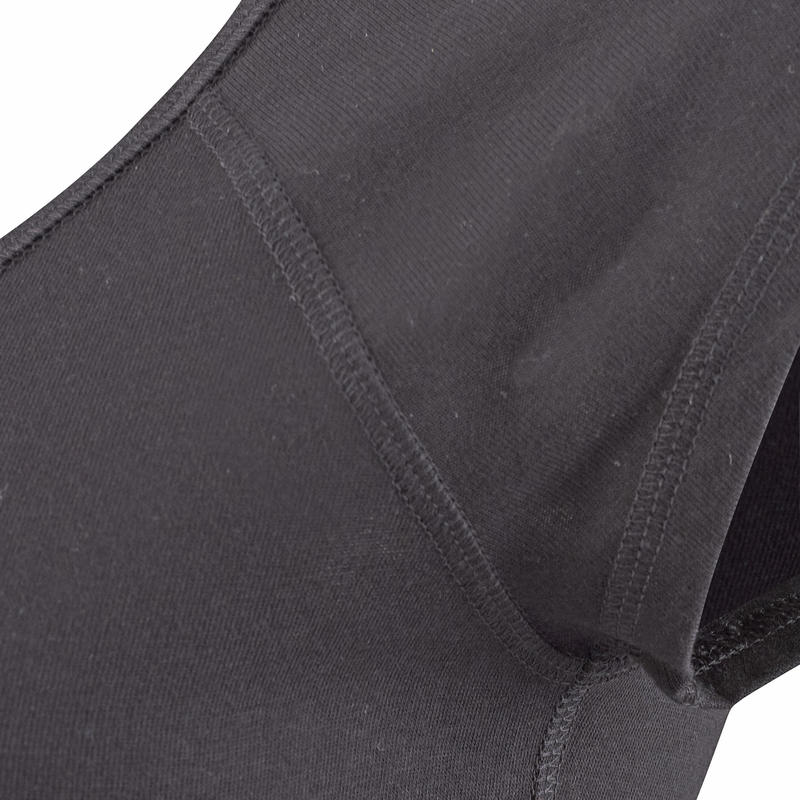 Camiseta 500 slim Gimnasia Stretching mujer negra