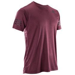 T-shirt voor heren fitness cardiotraining Adidas bordeaux