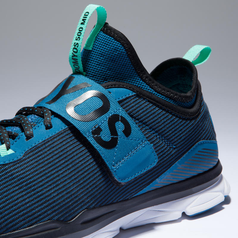 8e1e11f2639 500 Mid Women's Cardio Fitness Shoes - Blue/Green - Decathlon