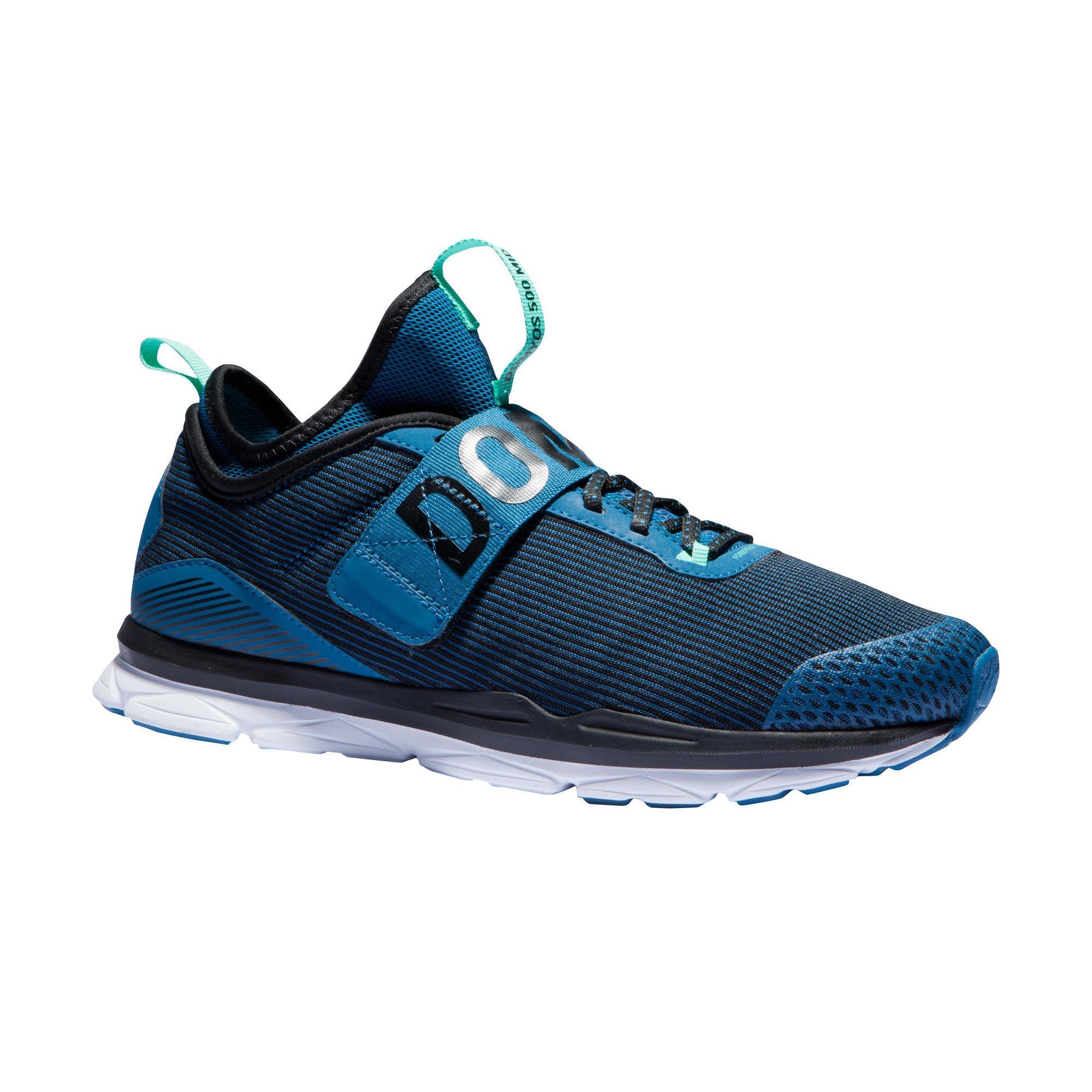 2531443 Domyos Fitnessschoenen cardiotraining 500 Mid dames blauw en groen