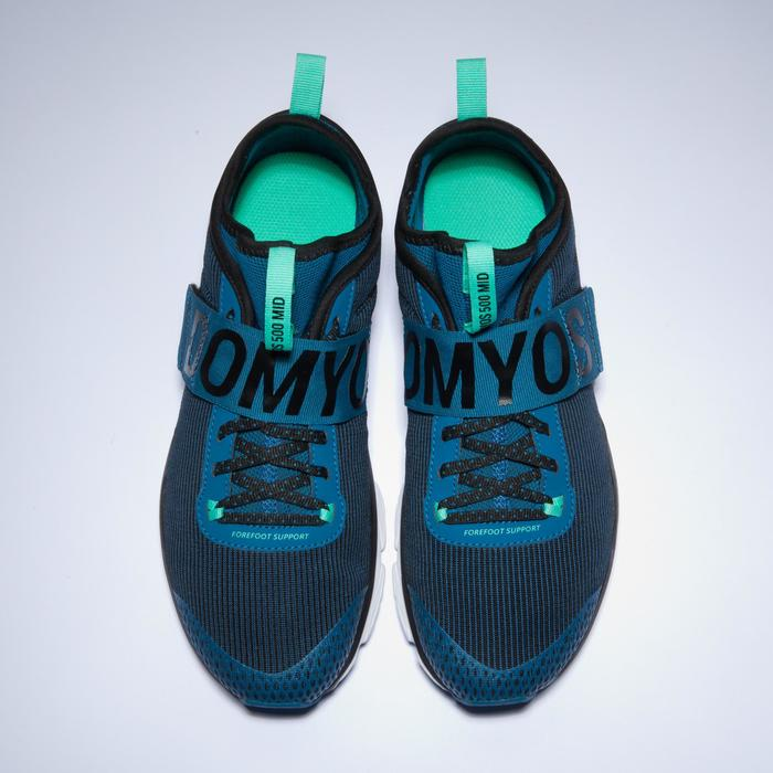 Fitnessschoenen cardiotraining 500 mid dames blauw en groen