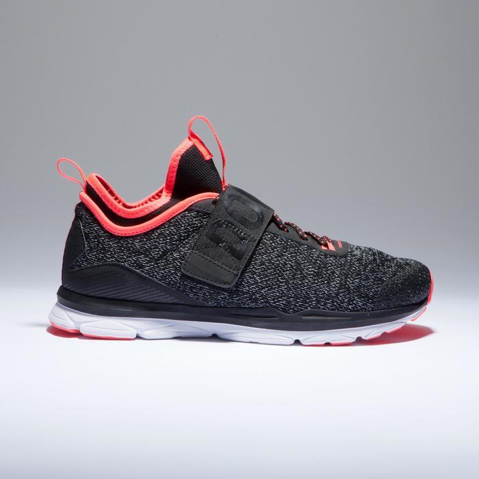 Cardiofitness schoenen 500 mid dames gemêleerd grijs en koraal