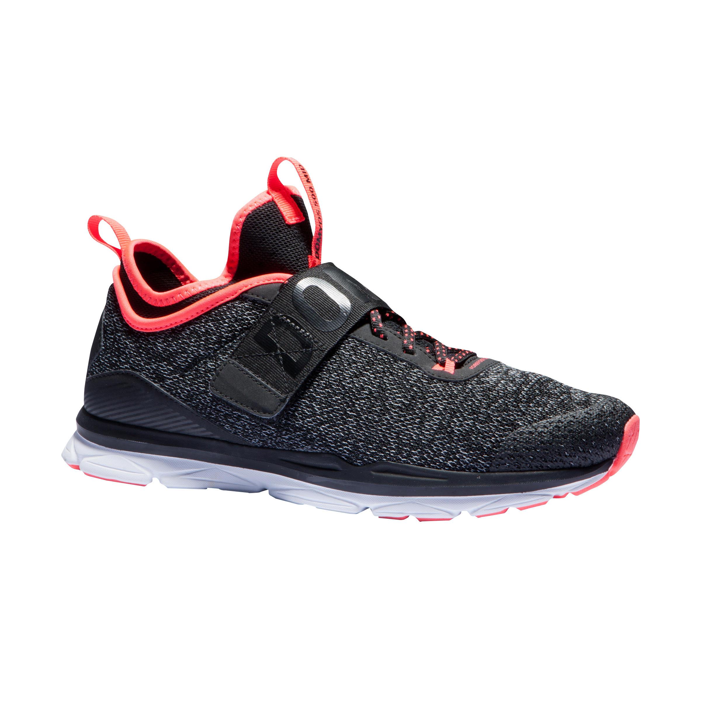 2602784 Domyos Cardiofitness schoenen 500 mid dames gemêleerd grijs en koraal