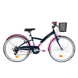 Kinderfahrrad Trekkingrad 24 Zoll Original 500 dunkelblau/pink