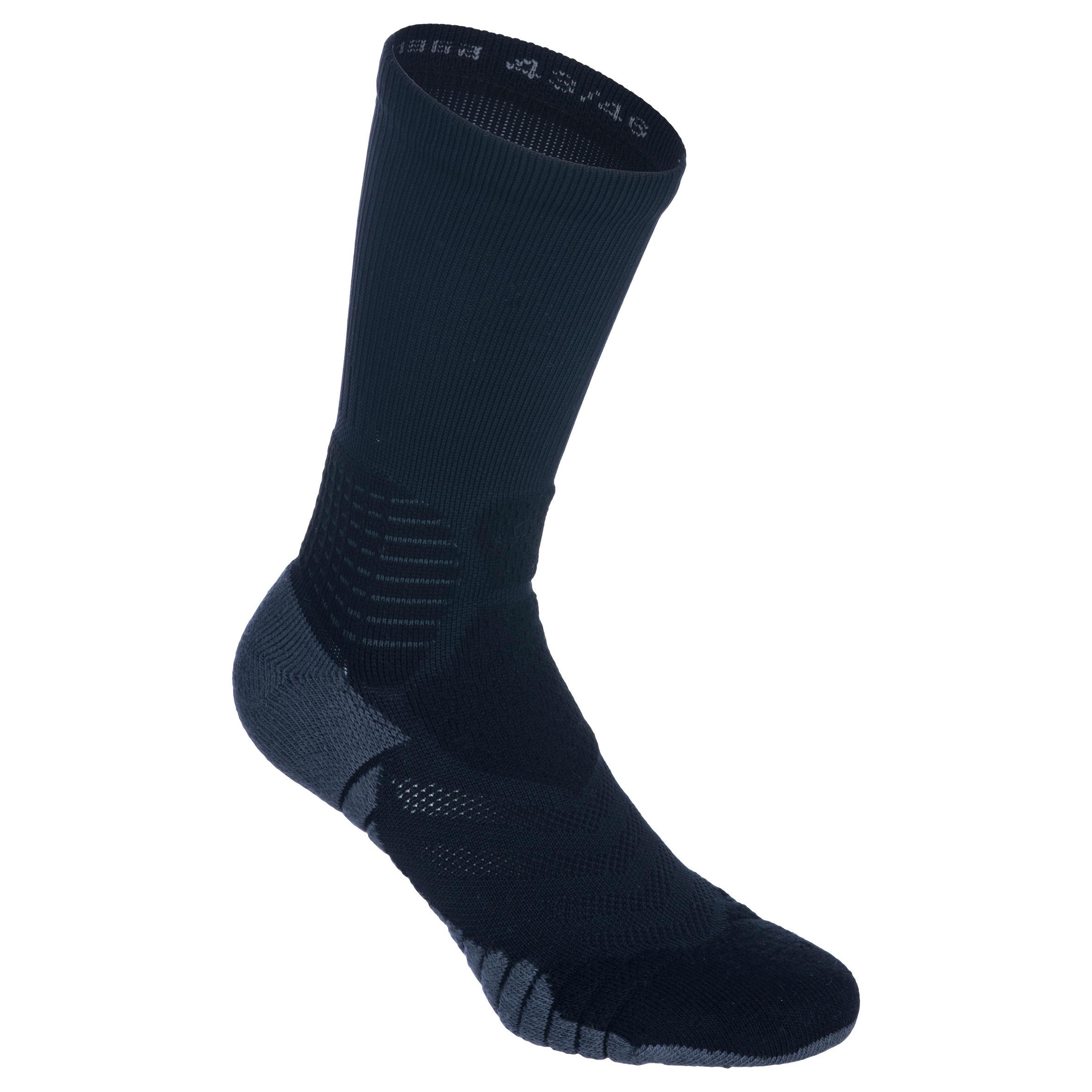 Tarmak Basketbalsokken voor ervaren heren/dames SO900 mid zwart grijs