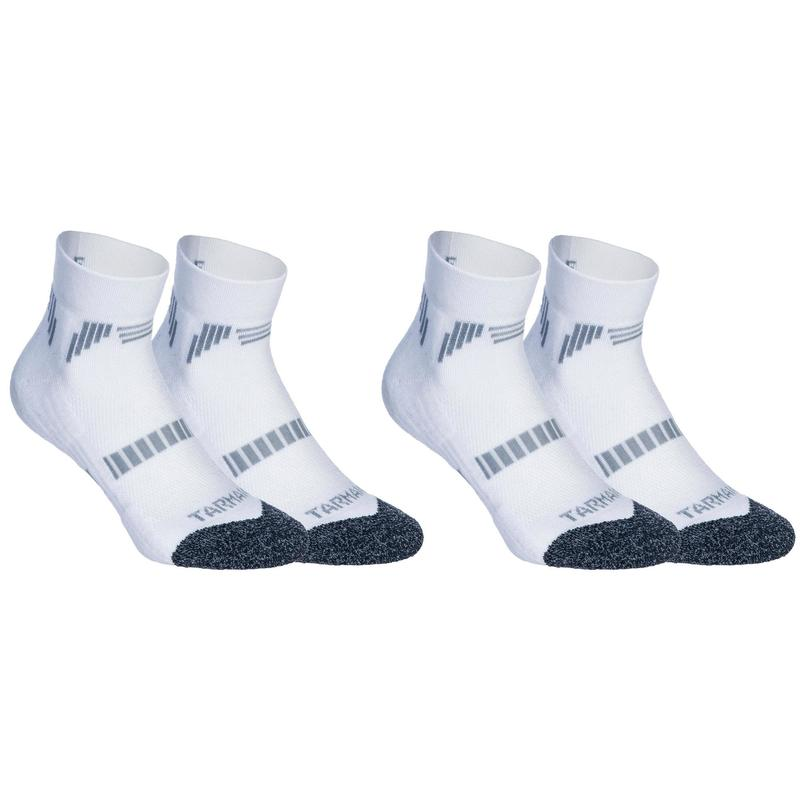 Kids' Low-Rise Basketball Socks For Intermediate Players Twin-Pack - White