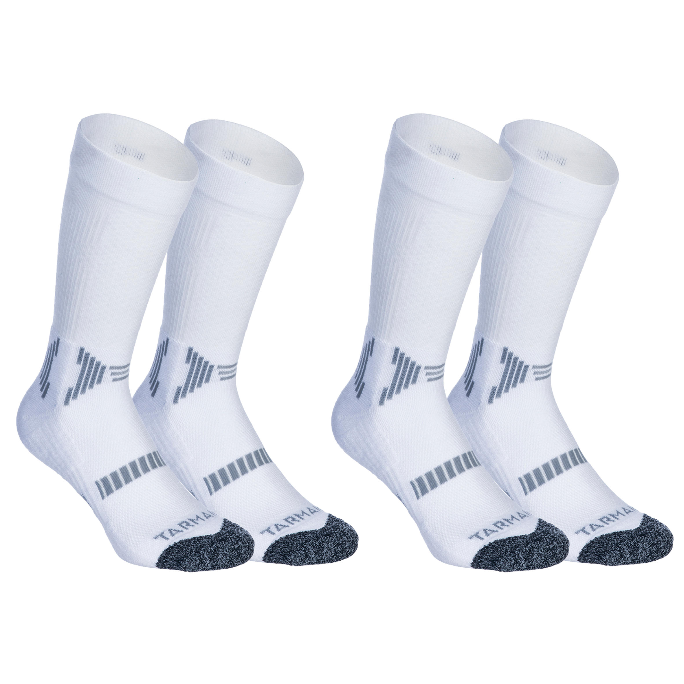 Kids' Intermediate Basketball High-Rise Socks Twin-Pack - White