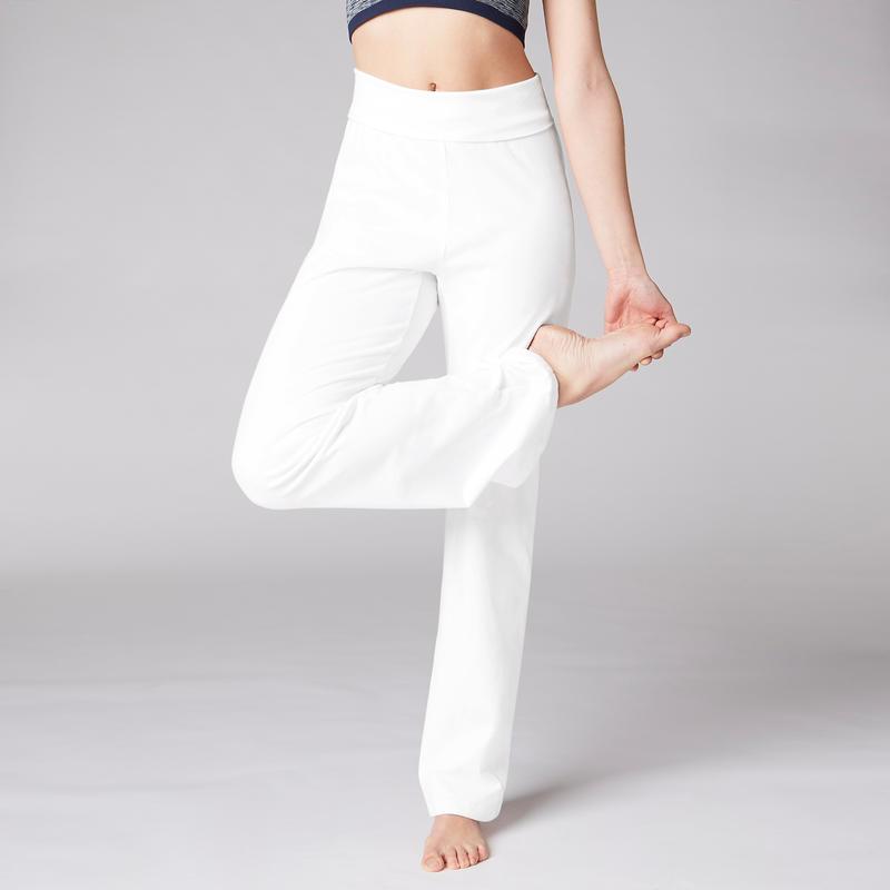 Mujer Yoga Blanco Agricultura Biológica Algodón Suave Pantalón qTFwxEvRx