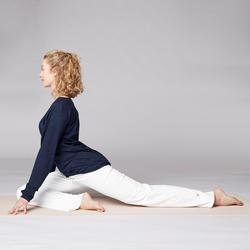 Mallas Deportivas Pantalones Premamá Yoga Domyos 100 Algodón Bio Mujer blanco