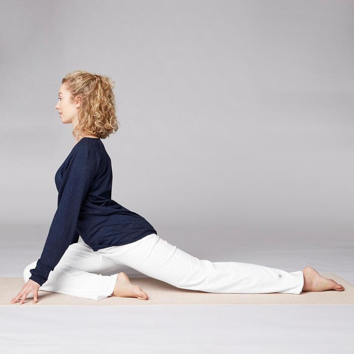 Yogahose sanftes Yoga aus Baumwolle aus biologischem Anbau Damen weiß