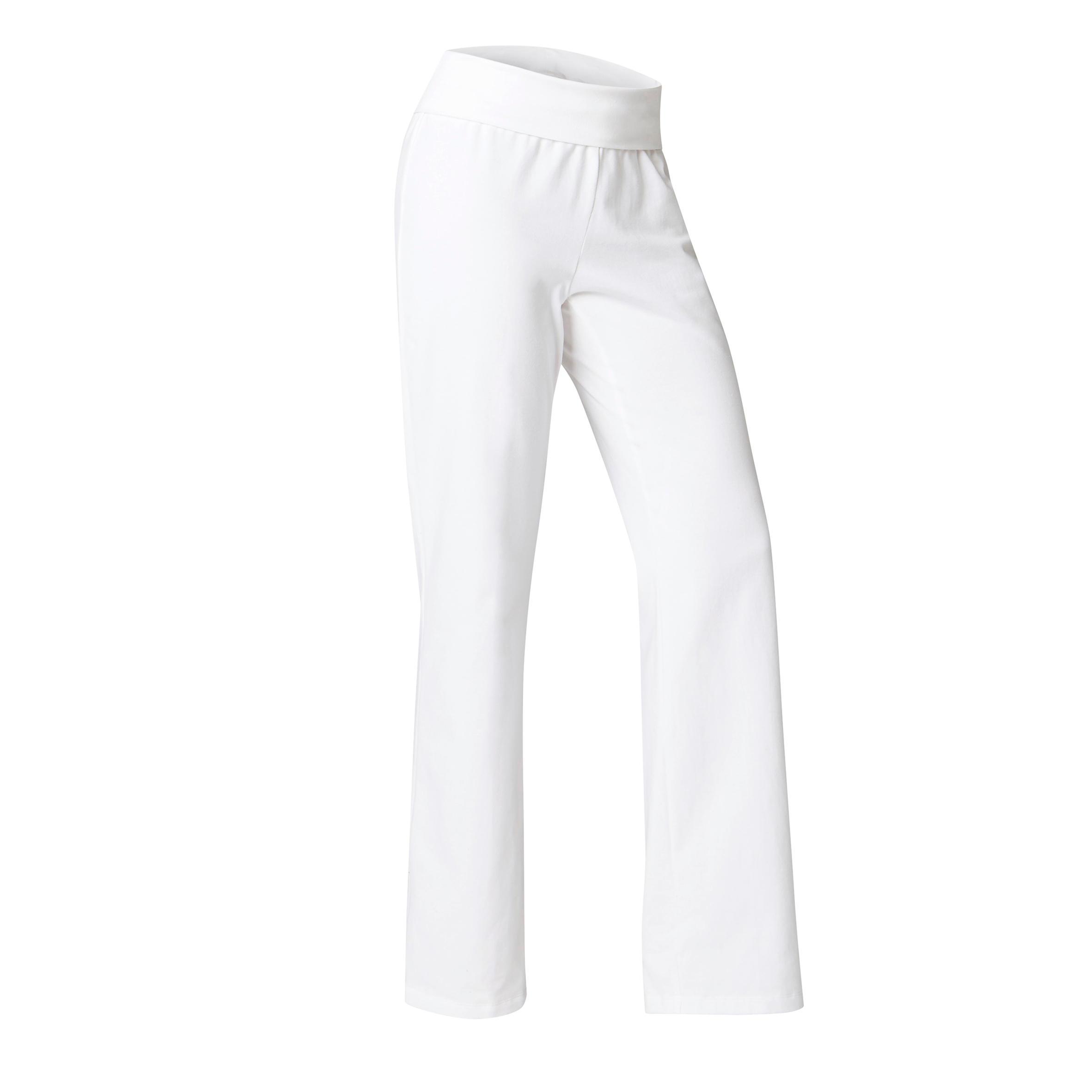 Yogahose sanftes Yoga aus Baumwolle aus biologischem Anbau Damen weiß | Sportbekleidung > Sporthosen > Yogahosen | Weiß | Baumwolle | Domyos
