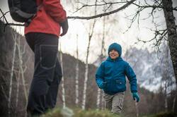 Waterdichte warme jas voor trekking jongens Hike 100 - 141900