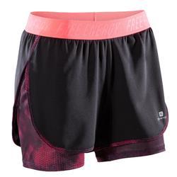 520 女性有氧健身運動2合1短褲 - 海軍藍/粉紅印花