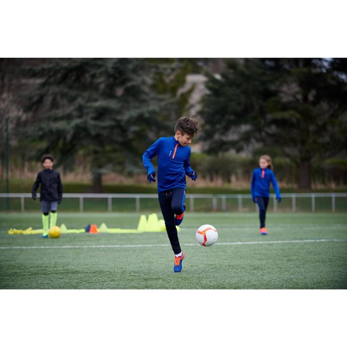 Sudadera Entrenamiento Fútbol Kipsta T500 Niño Azul Naranja 1/2 Cremallera