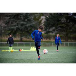 Sweatshirt Fußballtraining T500 mit Reißverschluss Kinder blau/rot