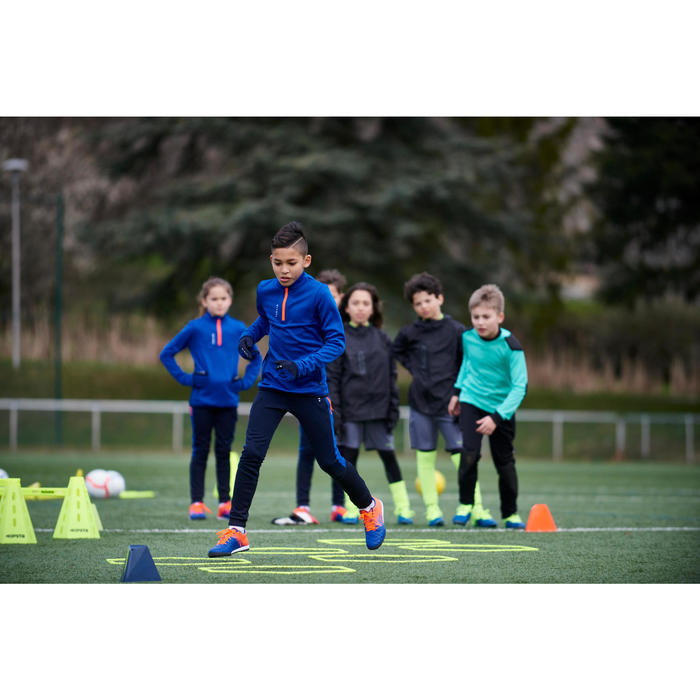 Sweat 1/2 zip d'entrainement de football enfant T500 bleu noir