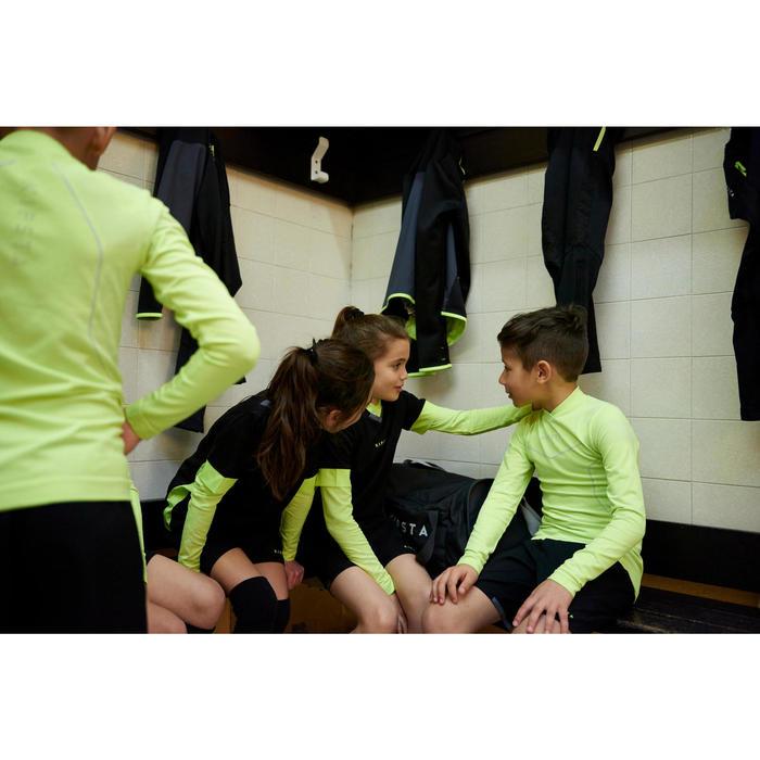Ondershirt voor voetbal lange mouwen kinderen Keepdry 500 fluogeel