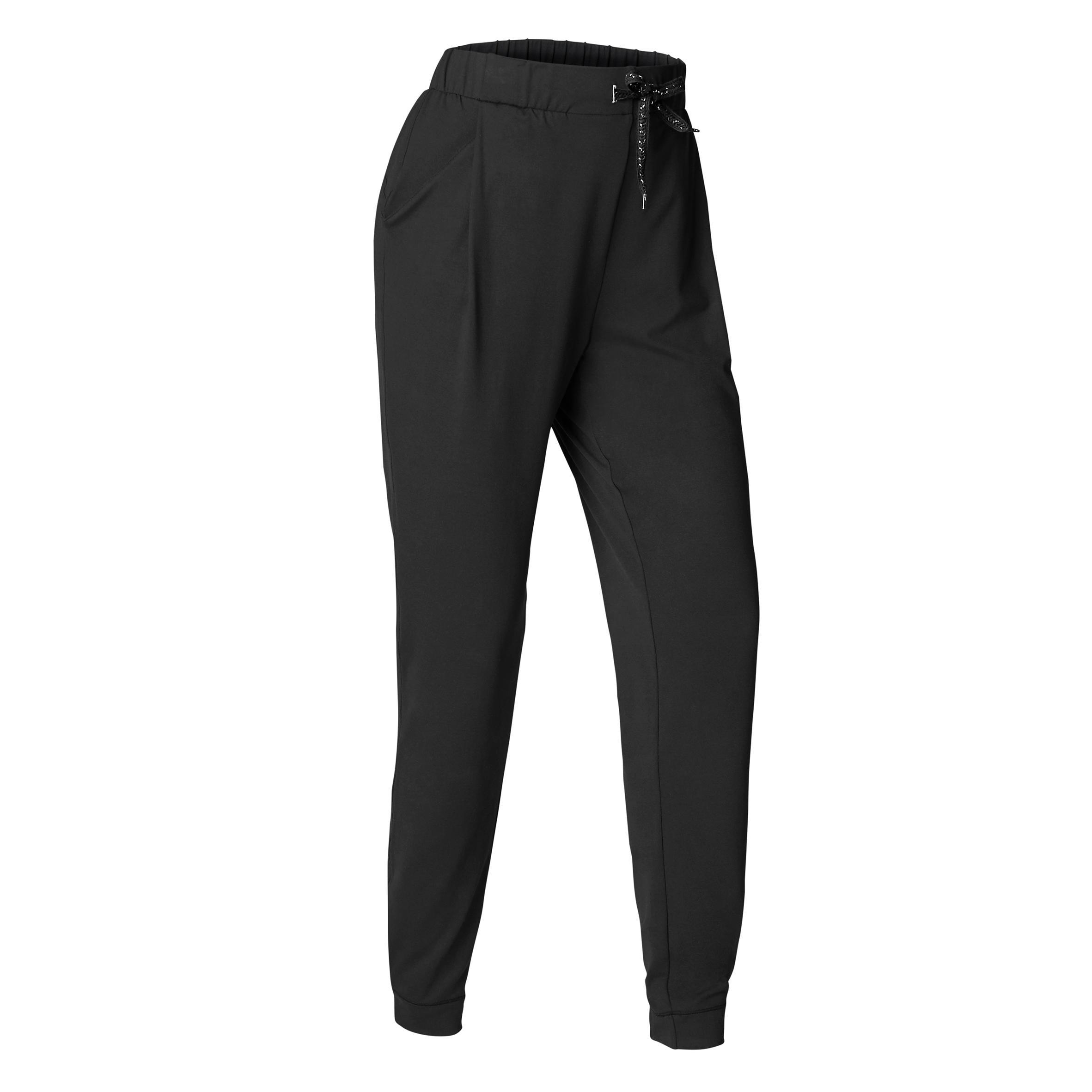 Yogahose Studio Damen schwarz | Sportbekleidung > Sporthosen > Yogahosen | Schwarz | Domyos