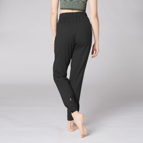 pantalon carotte technique yoga femme noir domyos by decathlon. Black Bedroom Furniture Sets. Home Design Ideas