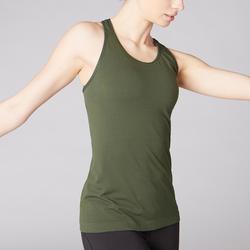 Camiseta Sin Mangas Yoga Domyos 500 Sin costuras Mujer Caqui