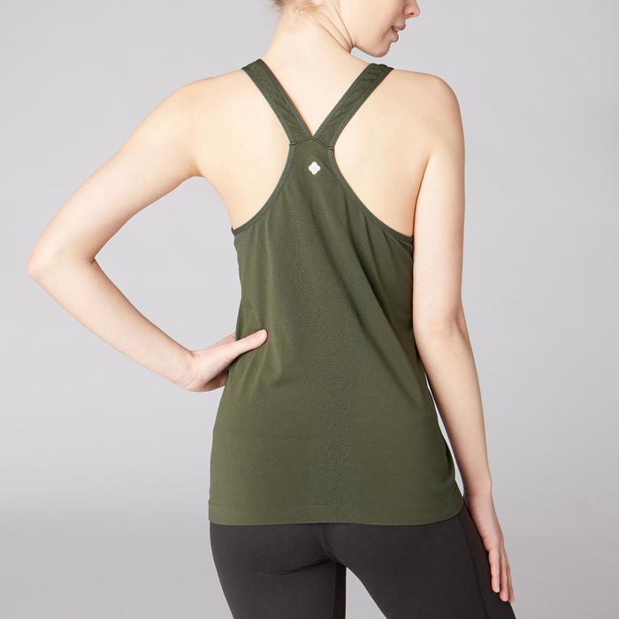 Camiseta Sin Mangas Yoga Domyos 500 Mujer Caqui Sin Costuras