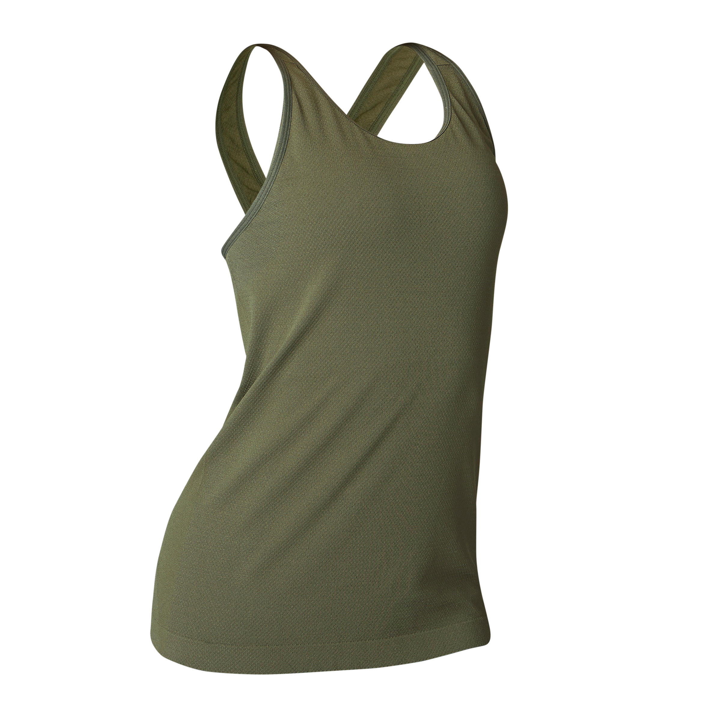 Playera sin mangas y sin costuras Yoga mujer caqui