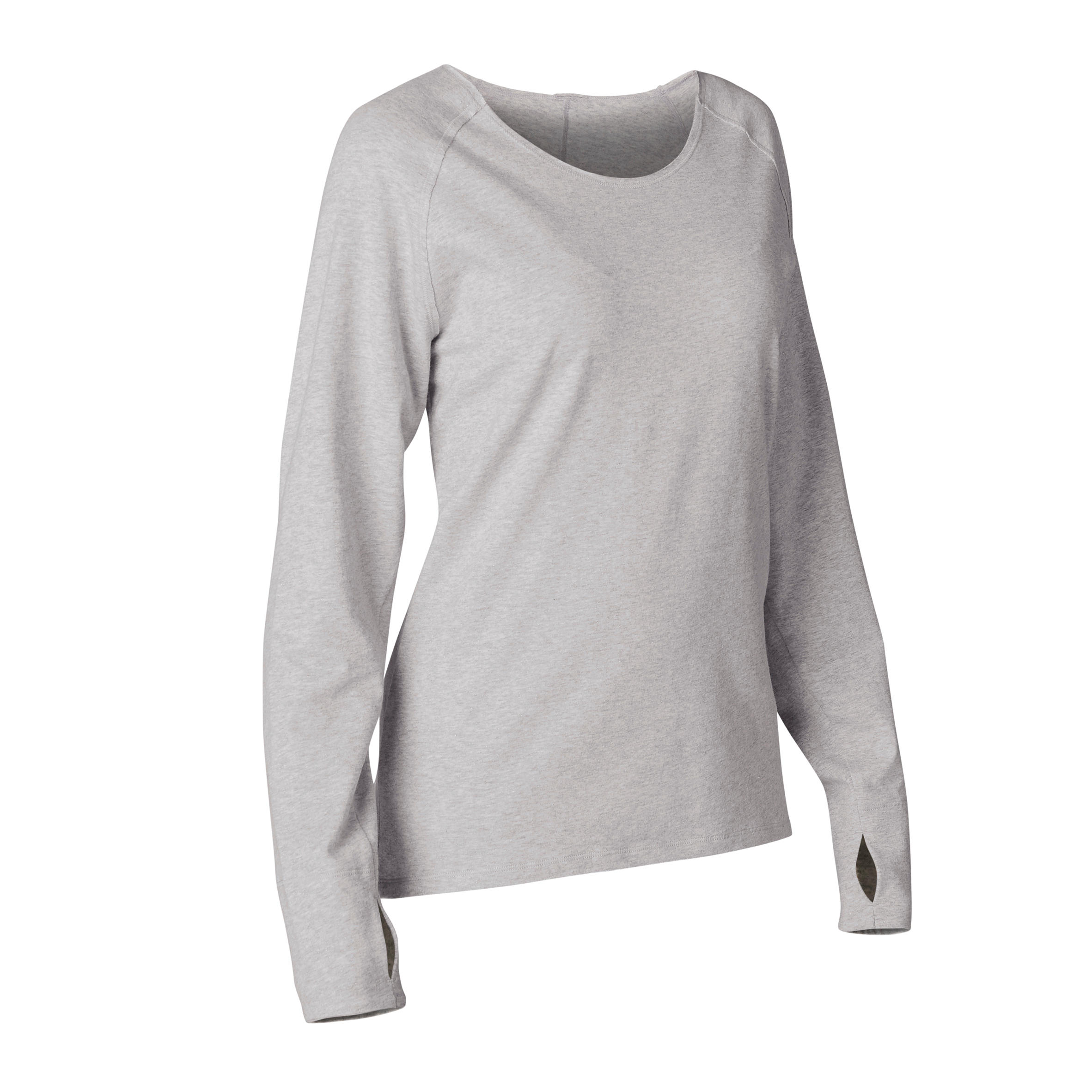 Organic Cotton Long-Sleeved Yoga T-Shirt - Grey