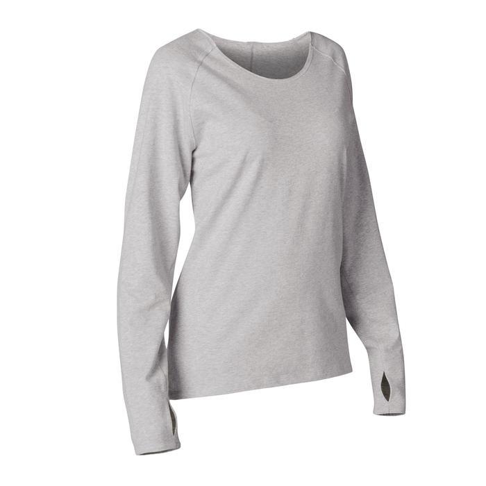 Langarmshirt Yoga Biobaumwolle Damen grau