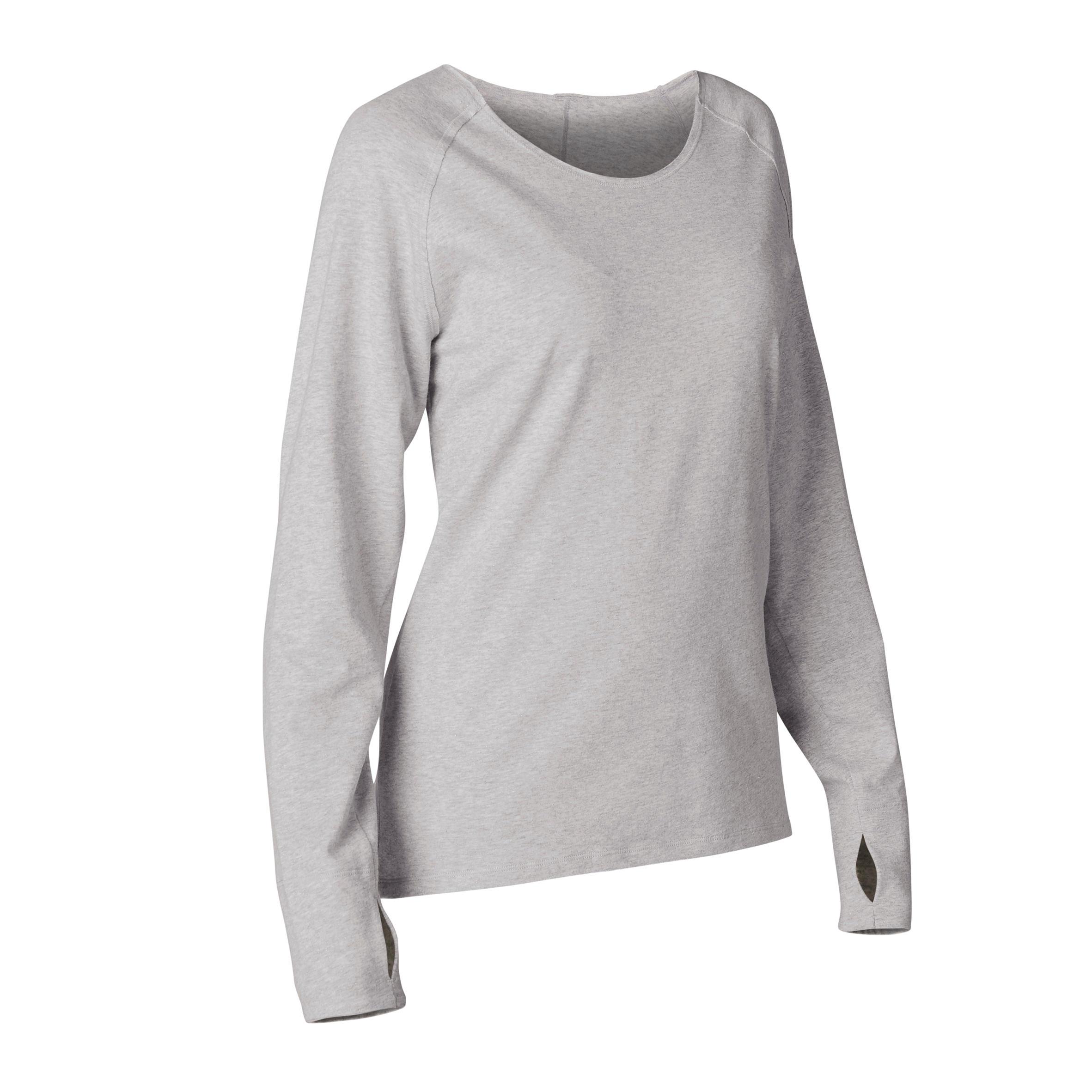 T-shirt manches longues yoga coton issu de l'agriculture biologique gris