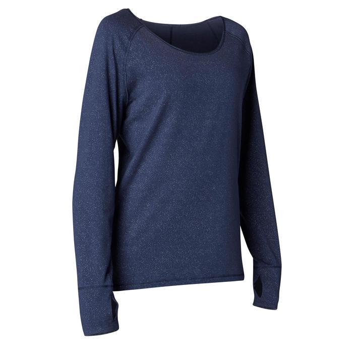 Langarmshirt Yoga Baumwolle Damen marineblau