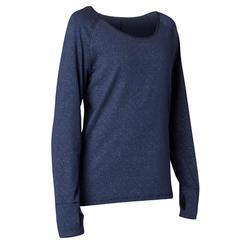 Yoga-T-shirt met lange mouwen in biokatoen marineblauw