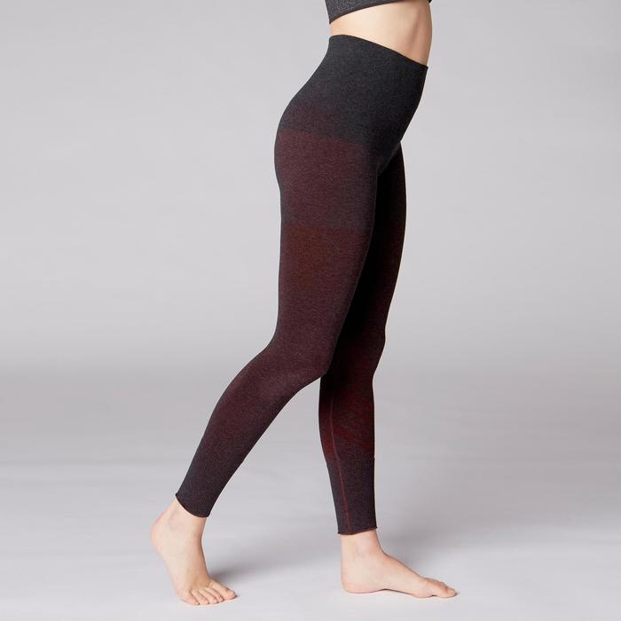 Legging YOGA DOUX sans couture femme bordeaux chiné - 1419233