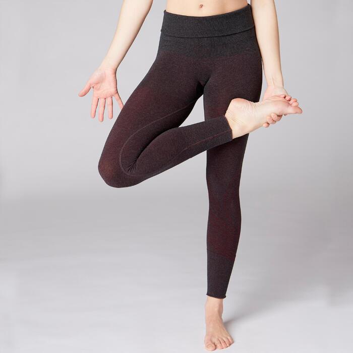 Legging YOGA DOUX sans couture femme bordeaux chiné - 1419234